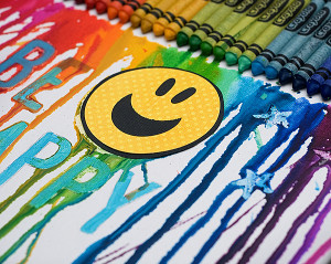 Smiley Melted Crayon Art
