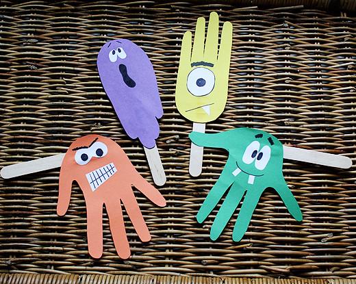 Haunting Handprint Puppets